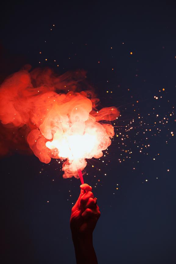 Fireworks: Hand Holding Sparkler To Celebrate
