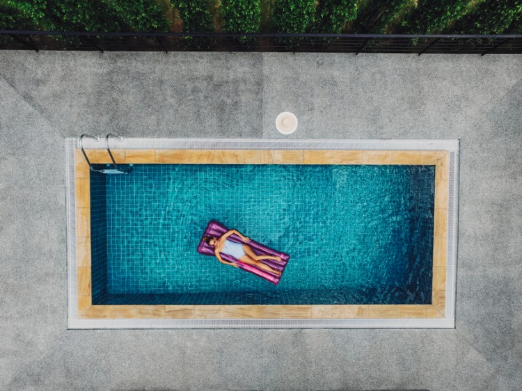 Overhead View of a Woman in a Swimming Pool