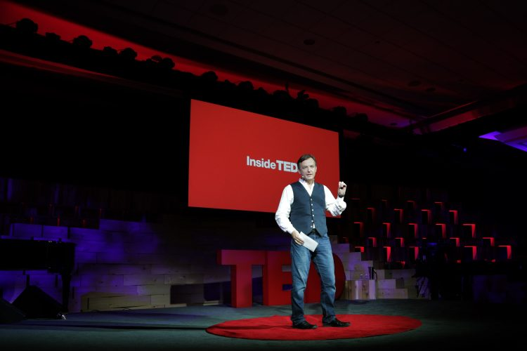 VANCOUVER, CANADA - MARCH 18: TED Curator Chris Anderson speaks during the 2014 TED conference (Photo by Steven Rosenbaum/Getty Images)
