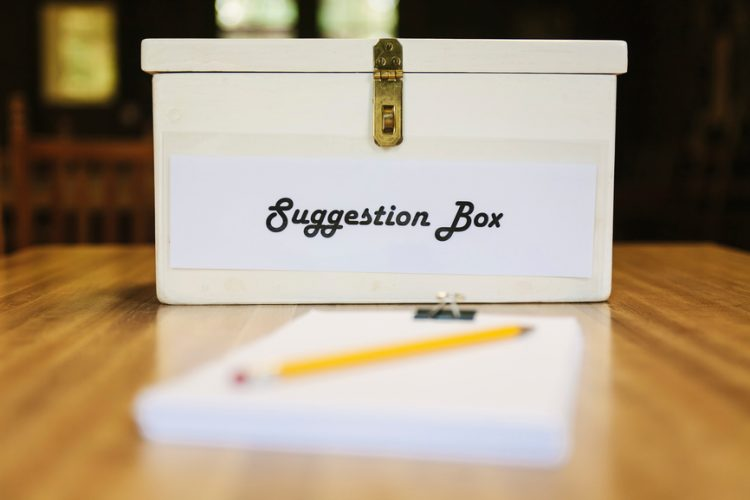 A white suggestion box