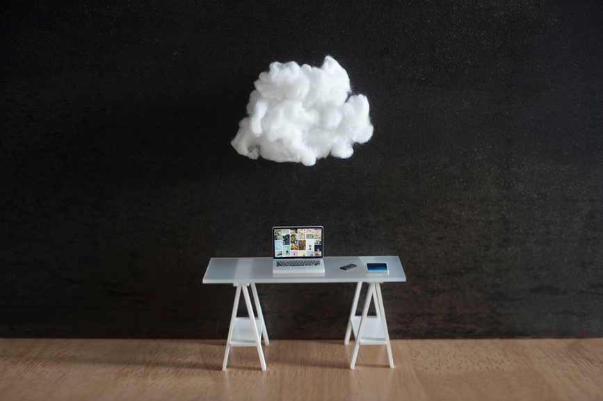 Model desk with cotton wool cloud overhead