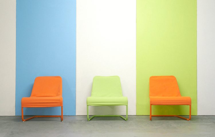 Coloured seats in a modern waiting room
