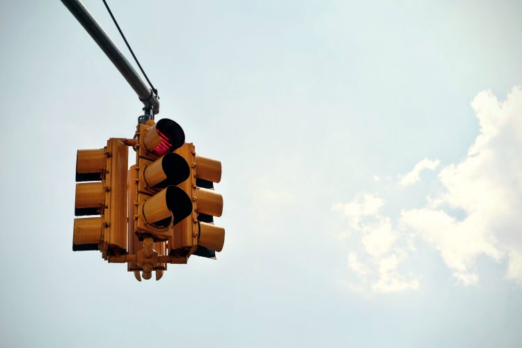 Traffic lights at red