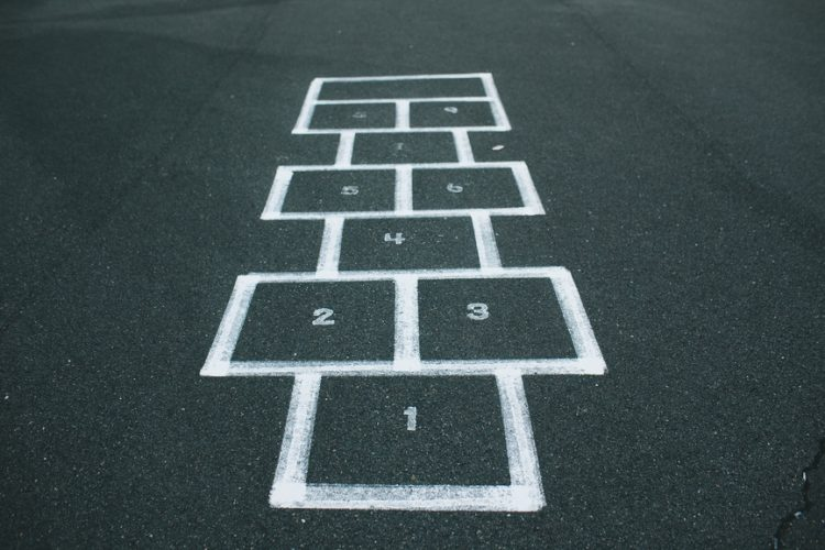 Hopscotch markings on a playground