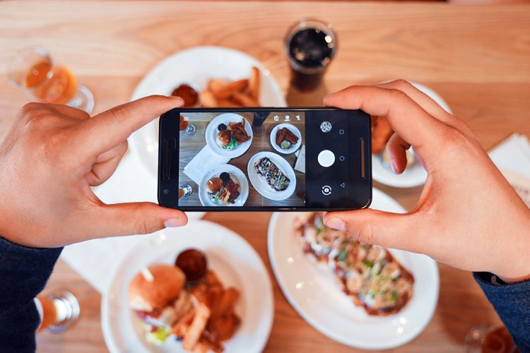 iPhone lining up a food photograph