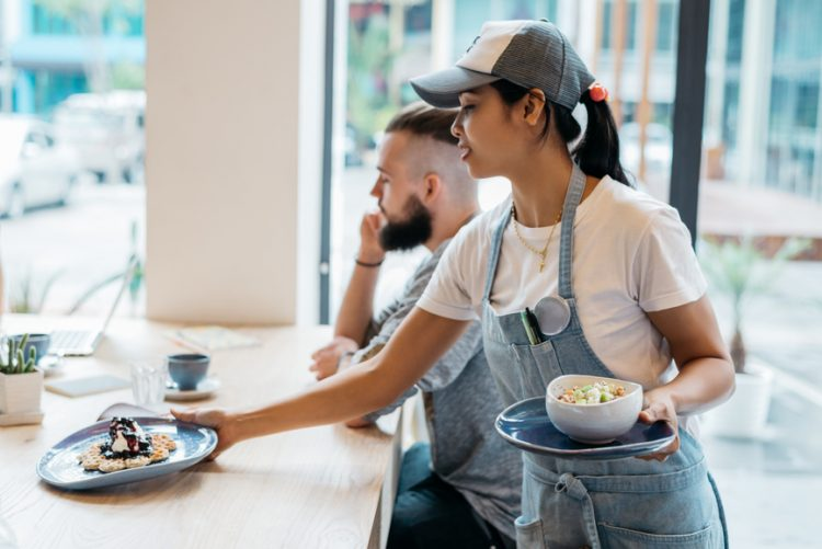 Cafe worker in uniform