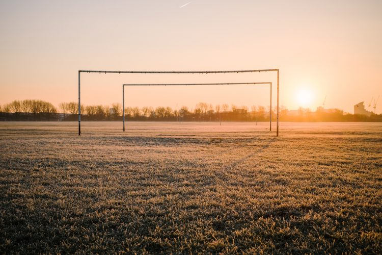 Soccer goal at sunset