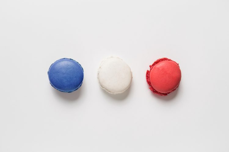Three macarons in each of the French flag's colours
